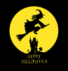 halloween card poster with witch on full moon vector image