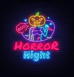 halloween neon sign horror night neon vector image