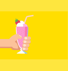 hand holds a glass with a milkshake with a cream vector image