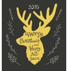 handdrawn lettering in shape deer vector image