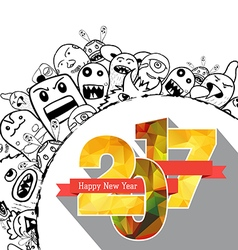 Happy new year 2017 Hand drawing Doodle Monster vector