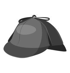 Hat detective icon gray monochrome style vector image