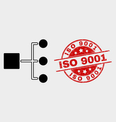Hierarchy icon and distress iso 9001 stamp vector