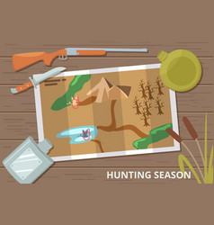 hunting season background with map on wood vector image