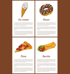 Ice cream and donut sweets with pizza and burrito vector