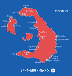 Island of santorini in greece red map vector