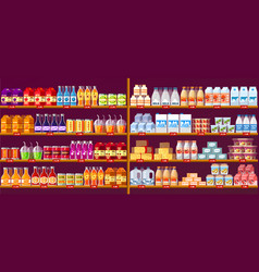 juice drinks and dairy at shop shelves or showcase vector image