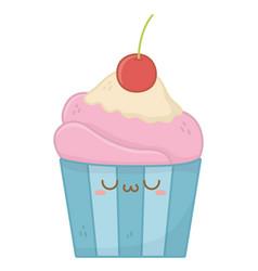 Kawaii muffin cartoon design vector