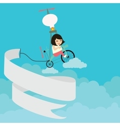 kids girls riding bicycle flying on sky vector image