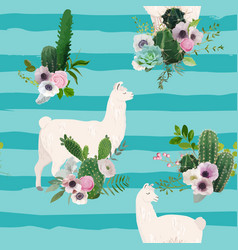 Llama and cactus seamless pattern lamas background vector
