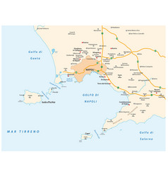 Map gulf naples in italian language vector