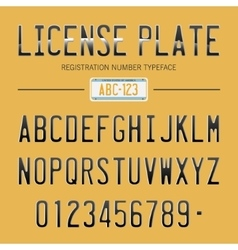 Modern License Plate font for registration numbers vector