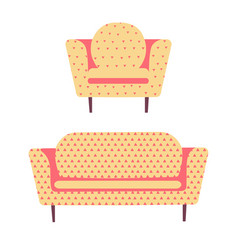 Modern sofa armchair and couch interior design vector