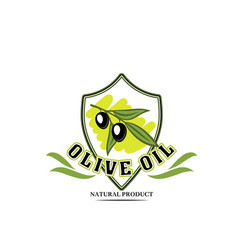olive oil bottle label with black fruit on branch vector image