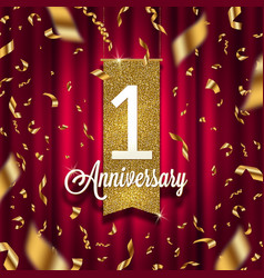 One year anniversary golden signboard vector