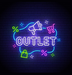 outlet neon sign outlet logo vector image