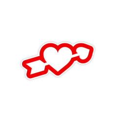 Paper sticker on white background arrow heart vector