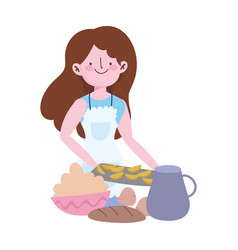 People cooking girl with cream bread baking food vector