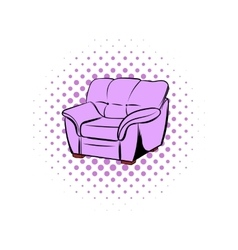 Pink armchair comics icon vector