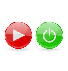 play and power glass buttons red and green round vector image