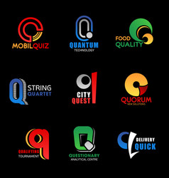 q letter business icons design and font isolated vector image