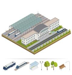 Railway station building terminal vector