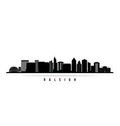 raleigh skyline horizontal banner black and white vector image