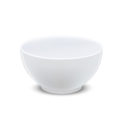realistic detailed 3d white ceramic bowl empty vector image
