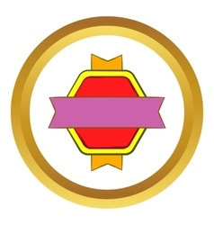 Red badge with yellow ribbons icon vector