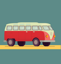 Red retro van car - 1950-1970 seventies sixties vector