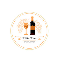 red wine and grape line icon wine menu logo vector image