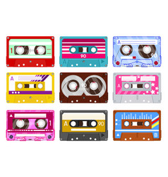 Retro audio cassette vintage audio tape 90s vector