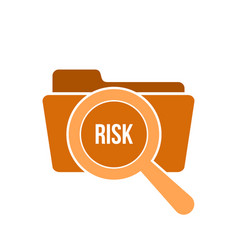 Risk word magnifying glass vector