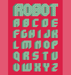 robotic font in flat style vector image