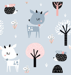 Seamless childish pattern with cute deer hedgehog vector