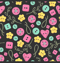 seamless pattern handmade knitted flowers and vector image