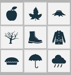 seasonal icons set with maple rain apple pie and vector image