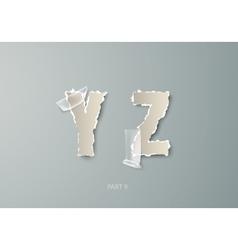 Set alphabet torn paper with transparent vector
