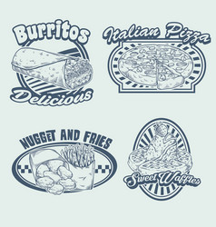 set hand drawing fast food vector image