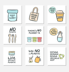 Set hand drawn cards with zero waste life and vector