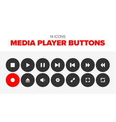 set of 14 media player icons vector image