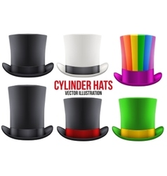 Set of gentleman hat cylinder vector image