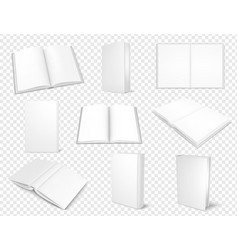 set of mockup books close and open template vector image