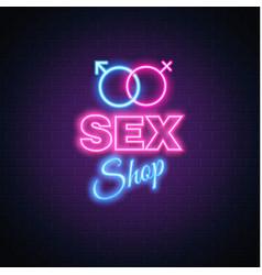 sex shop neon sign gender man woman symbol vector image