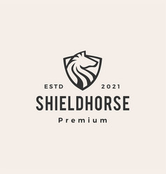 shield horse hipster vintage logo icon vector image