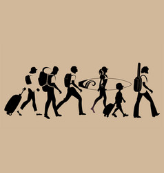 silhouettes of tourists walking carrying vector image