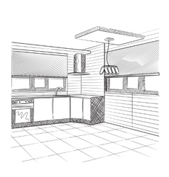Sketch of a kitchen interior vector image