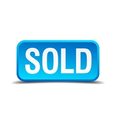 Sold blue 3d realistic square isolated button vector