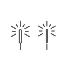 sparkler line and glyph icon flame firecracker vector image