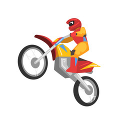sportsman riding motorbike motorcyclist male vector image